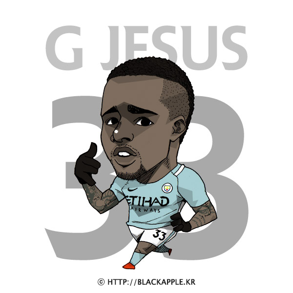 17/18 Season Mancity No.33 Gabriel Jesus Fan Art