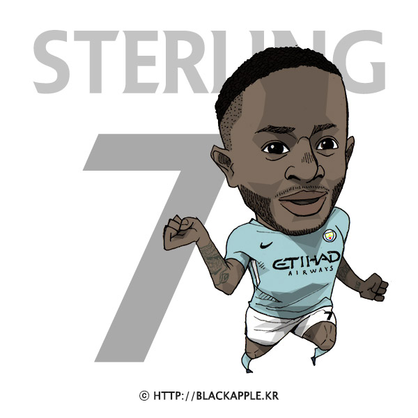 17/18 Season Mancity No.7 Raheem Sterling Fan Art