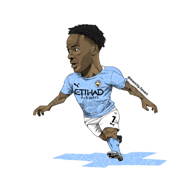 20/21 season mancity no.7 Raheem Sterling fanart