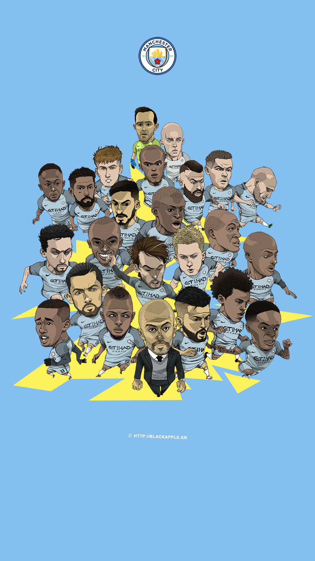 BlackApple | Manchester City FC Fan Art | 2016/17 Season Mancity Full Squad Fan Art for Mobile ...